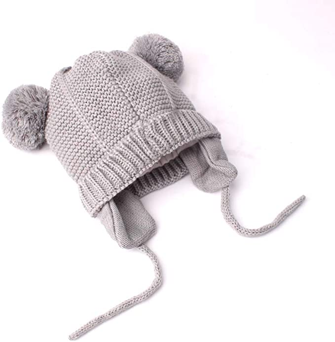 kaiCran Adorable Cute Toddler Baby Warm Knit Kids Hat with Earflap Winter Hat for Girls and Boys