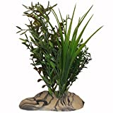 Rock Garden 12'' Natural Green Plant with Decorative Resin Base, Large