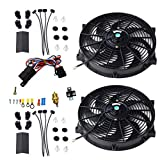 """16"""" Universal Electric Radiator Cooling Fans + Thermostat Relay & Mount Kit (2 Pcs)"""