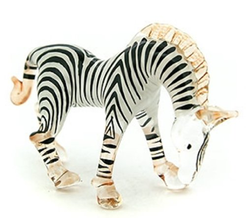 - Aquarium MINIATURE HAND BLOWN Art GLASS Small Zebra Head Down FIGURINE Collection