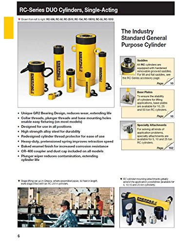 Enerpac RC-104 Single-Acting Alloy Steel Hydraulic Cylinder with 10 Ton Capacity, Single Port, 4.13'' Stroke by Enerpac (Image #2)