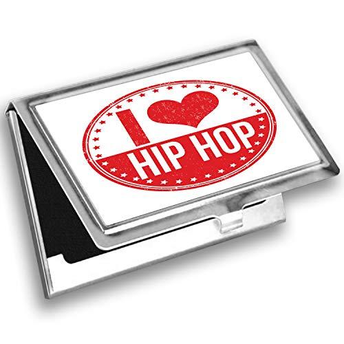 Ambesonne Hip Hop Card Holder, I Love Hip Hop Phrase, Metal Card Wallet
