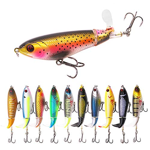 GUFIKY 10-Pack Whopper Plopper Fishing Lures 4.13 inch/0.6 oz with Rotating Spins Tail for Bass,Trout ,Walleye,Pike and Musky Topwater Floating Hard Baits Swimbaits with Barb Treble Hooks