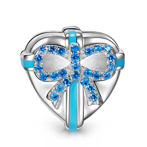 NINAQUEEN Love Gift 925 Sterling Silver Heart Clip Bead Charms for Bracelet Necklace Jewelry for Women Birthday Anniversary Christmas for Her Teen Girls Wife Mom Daughter ()