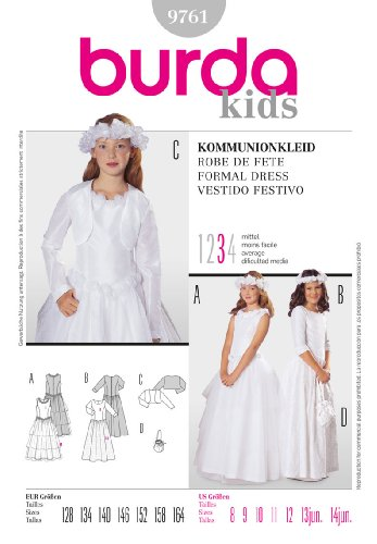 BURDA 9761 FORMAL LONG GIRLS DRESS (SIZE 8-12) COMMUNION /Quinceanera / FLOWER GIRL / BRIDESMAID / SEWING PATTERN ()