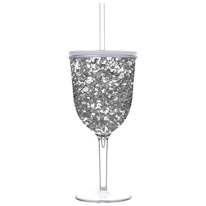 6ea059c1bad Slant Collections Double Wall 13oz Glitter Wine Glasses (Silver Glitter)