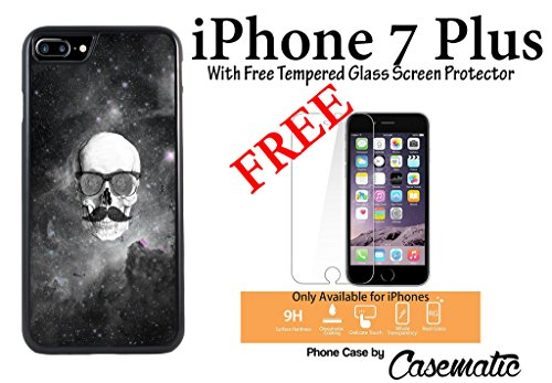 iPhone Case Floral Skull Hipster Mustache Rubber Black Phone Case For Apple iPhone 7 Plus With Free .33 mm Premium Tempered Glass Screen Protector by Casematic (667 Hipster)