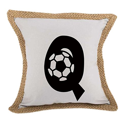 ''Q '' Soccer Initial Monogram Letter Q Bed Home Decor Faux Linen Pillow Cover Gray by Style in Print