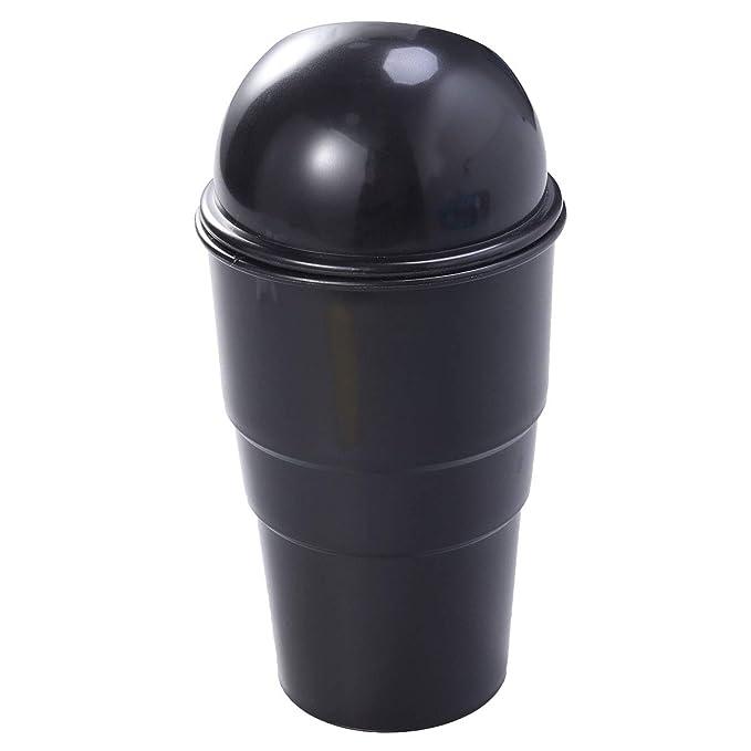 Vosarea Car Trash can with lid Garbage dust bin Storage Barrel Cup Holder Black