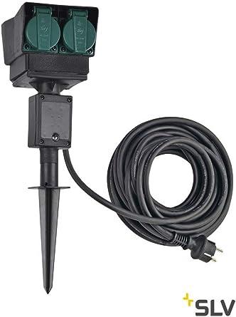 Regleta de 4 enchufes para jardín, color negro, versión francesa, cable de conexión de 10 m, IP44.: Amazon.es: Iluminación