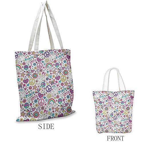 Doodle Shopping bag is easy to carry Retro Symbols of Sixties Peace Magic Mushroom Love Stars and Hearts Hippie Music Full color shopping bag W15.75 x L13.78 Inch Multicolor ()
