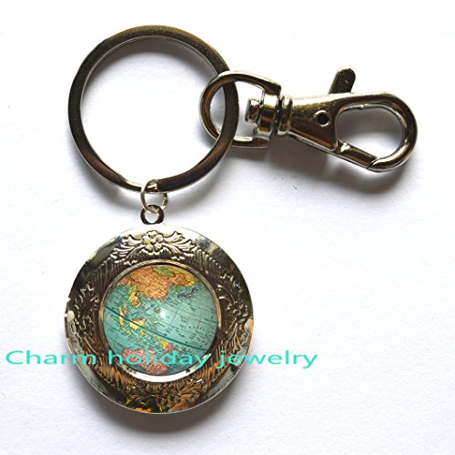 Globe Locket Keychain, Globe Locket Key Chain, Globe Charm, Globe Pendant, Globe Gifts, Geography Teacher, Geography Gifts, Traveler Locket Keychain, Travel (Wholesale Personalized Gifts)