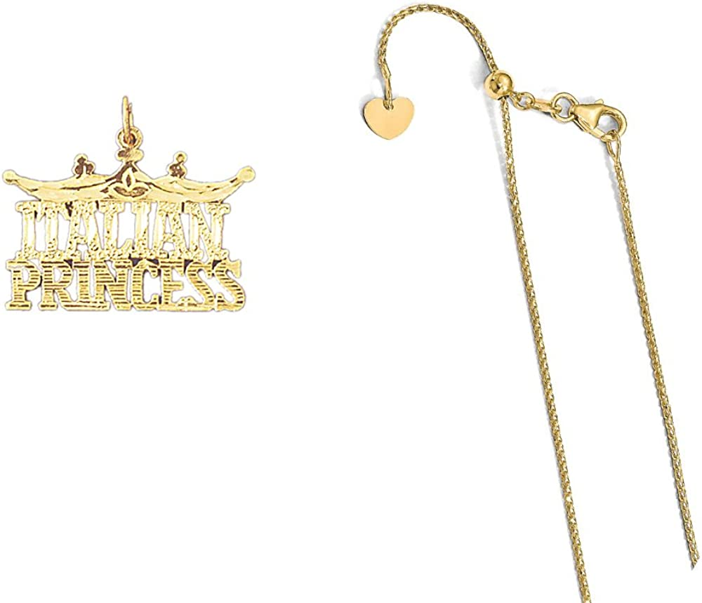 14K Yellow Gold Italian Princess Pendant on an Adjustable 14K Yellow Gold Chain Necklace