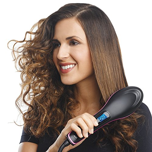 Glive's Simply Straight Ceramic Electric DigitalFast Brush Magic Hair Straightener Comb LCD Smooth Hair Straightener Brush