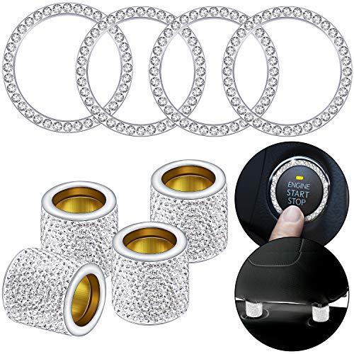 8 Pieces Car Headrest Collars Rings Crystal Car Seat Headrest Rings Crystal Rhinestone Rings Shiny Auto Engine Button…