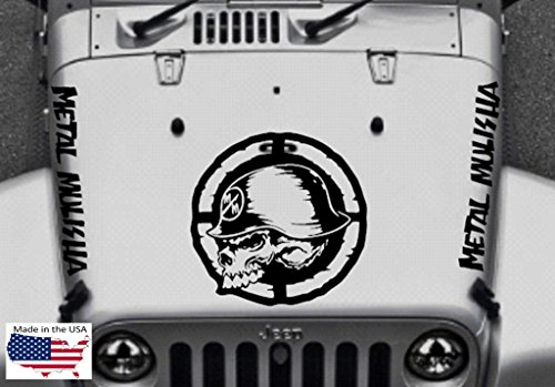 METAL MULISHA SKULL Military Star Hood Door Vinyl Decal Car Truck Van 5 piece set (Fits Jeep Wrangler) - Black Matte