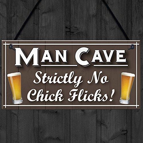 Rojo océano Man Cave no pollito películas divertido marido regalo cerveza para colgar placa casa Bar Pub signo cobertizo: Amazon.es: Hogar