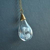 Blanco Floreciente Babysbreath Real Flor Vaso Gota de agua 18K Chapado en oro Largo Collar