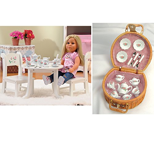 & Chair Playset with 17 pc. Ceramic Tea Set Sized for 18