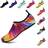 Water Sports Shoes Barefoot Quick-Dry Aqua Beach Swim Exercise Yoga Socks Slip-On for Mens and Womens Colorful 40/41