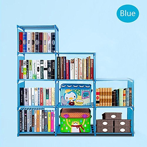 2018 Non-Woven 9-Cubes Korean Home Furniture Closet Storage, Adjustable DIY Design for Kids Office Bookshelf Closet Shelf [US STOCK] (Blue) by CINUE (Image #8)