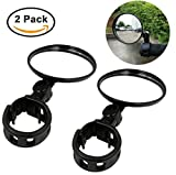 Ibely 2 Pack Bike Mirror Handlebar End Glass Bicycle Mirrors 360 Rotation Rearview Mirror for Mountain Bike Off-Road Bike and Fixed Gear Bike