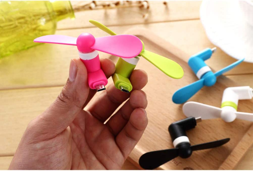 Hemobllo 4pcs Mini Cell Phone Fan Portable USB Cooling Fan for Travel Bus Subway Cell Phone Summer Accessories for Android, Mixed Colors