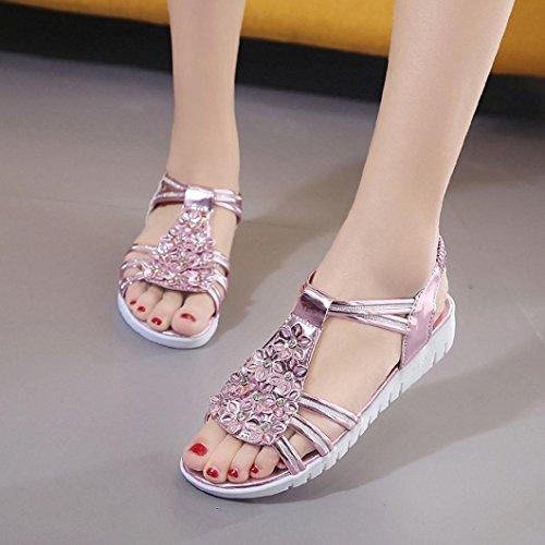 Damen Sandalen, SHOBDW Dick Soled Sandalen Weibliche Sommer Flache Sandalen Match Freizeit Frauen Sandalen Rosa