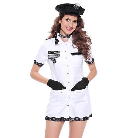 FENGHAO Traje de policía de lencería Blanca para Mujer Traje de ...