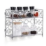 2-Tier Spice Rack Countertop Shelf for Kitchen Spice Jars Storage Organizer Wall-mounted Storage (DB050C)(Silver)