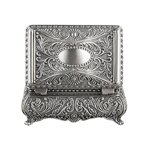 Engraved Silver Plated Oval Antique - Ornate Antique Finish Rectangular Trinket Jewelry Box - 3.5