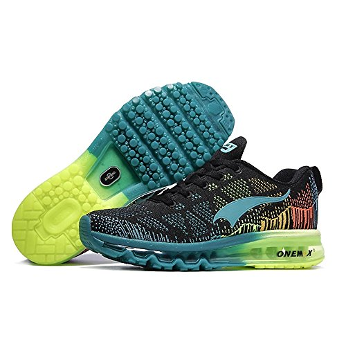 Men's Sport Running Shoes Music Rhythm Men's Sneakers Breathable mesh Outdoor Athletic Shoe Light Male Shoe Size EU 39-47 (Women 10.5 / Men 9 → EUR 43, Green Black)