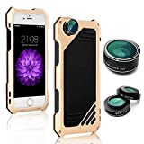 ELEOPTION 3 in 1 Camera Fisheye Lens Kit 198° Fisheye Lens 15X Macro Lens / Wide Angle Lens with IP54 Dustproof Shockproof Aluminum Case with Screen Protector (For iPhone 6/6s Plus