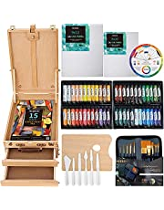 MEEDEN Complete Acrylic Painting Set - Solid Beech Wood Easel Box, 48 Colors Acrylic Paint Set and All Additional Painting Supplies, Artist Painting Art Kit for Beginning Artists, Students & Kids