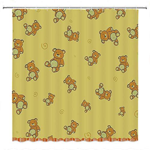 SATVSHOP Print-Fabric-Shower-Curtain-PVC-Free-Odorless-for-Master,-Kid's-Kids-Cute-Teddy-Bears-Pattern-etro-Funky-Childish-Toddler-Nursery-Dign-Yellow-Apricot-Orange.W84-x-L72-inch ()