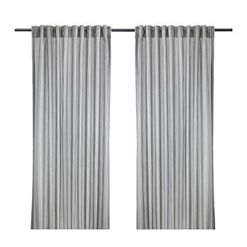 Ikea Gulsporre Gardinenpaar In Weiss Und Grau 145x300cm Amazon
