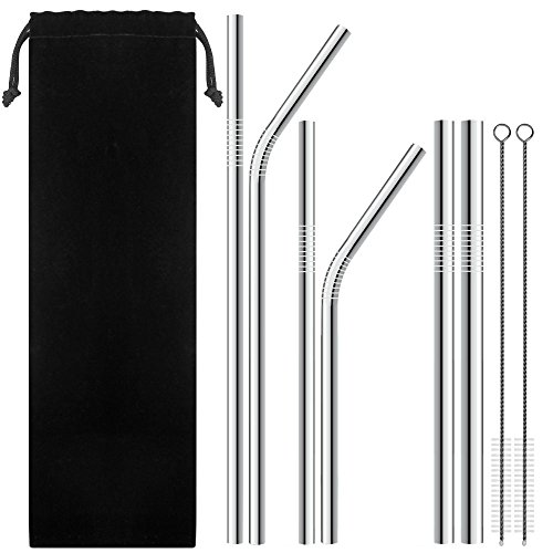 Klean Tea - 6 Stainless Steel Straws with 2 Cleaning Brushes, Variety of Widths Reusable Metal Drinking Straws for 20oz 30oz Stainless Tumbler Yeti Rambler Rtic Ozark Trail Complete (Pack 6)