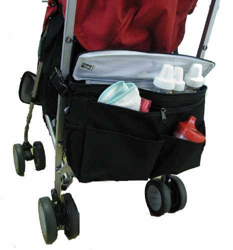 J.L. Childress Cool 'N Cargo, Universal Fit Stroller Cooler and Organizer, Insulated, Easily Attach to Stroller or Detach to use as Diaper Bag, - Single Black Bag Stroller