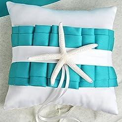 white turquoise starfish pillow wedding design