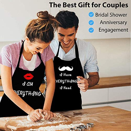 Rosoz Couples Aprons - 2 Piece Kitchen Apron Set for Engagement Wedding Anniversary, Bridal Shower Gift for Bride, Wedding Gifts for The Newly Married Couple and Valentine's Day