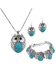 YAZILIND Silver Plated Vintage Blue Turquoise Pendant Necklace Owl Drop Earrings Bracelet for Women Jewelry Sets