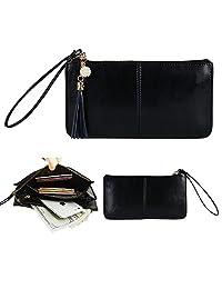 Belfen Soft Leather Smartphone Zipper Wallet with Wristlet - Black