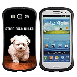 Hybrid Anti-Shock Bumper Case for Samsung Galaxy S3 / Cute Stone Cold Dog