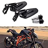 Universal Motorcycle 7/8'' Bar End Rearview Mirrors for Street Bike Sport Bike Cruiser-Pair (Black)