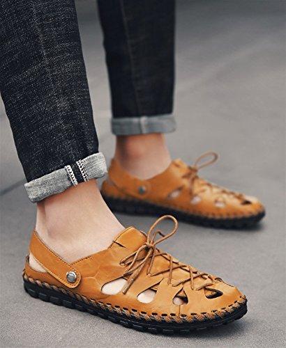 SK Studio Men's Sandals Outdoor Leather Close-Toe Sandals & Slides Sports Water Sandal Shoes Brown Nf4uf6e6w5