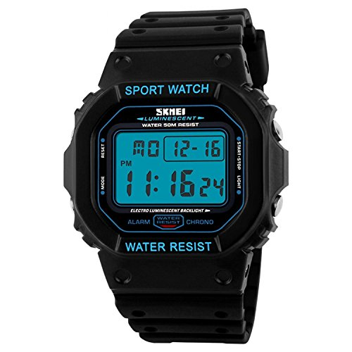 Price comparison product image Men Watch Digital LED Display Back Light Multifunctional Fashion Casual Sport Wrist Watch Electronic Watches 50M Water Resistant, Black