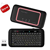 Wireless Mini Keyboard with Touchpad, Backlit Keyboard and Mouse Combo with IR Learning Function and One Key Power ON/Off Function for Raspberry Pi, HTPC, Android TV Box, Smart TV, PC, PS4