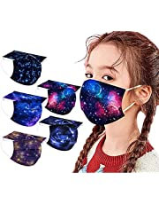 50Pc Cute Kids Disposable Face_Masks Watercolor Printing Patterns With Nose Wire Colorful Star Facemask for School