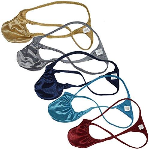 JAXFSTK Men Athletic Shiny Micro T-Back Guys Thongs Bikini String Underwear Male Gym Pouch Shiny Tangas Mini Pants Pack of 5 L