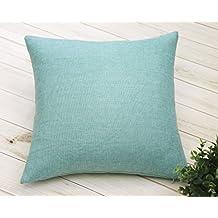 "Aiking Home Woven Fine Faux Linen Throw Pillow Cover, size 18""x18"", Aqua"